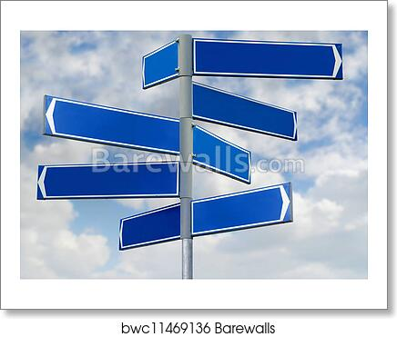 art print of blank blue direction sign signpost barewalls posters