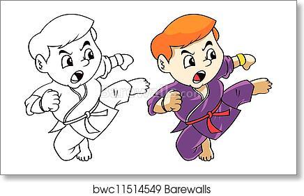Karate Kid Cartoon Art Print Barewalls Posters Prints Bwc11514549