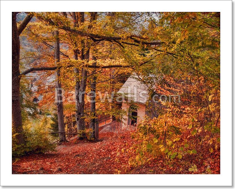 Autumn Landscape - Cabin In The Art Print/Canvas Home Decor Wall Art ...