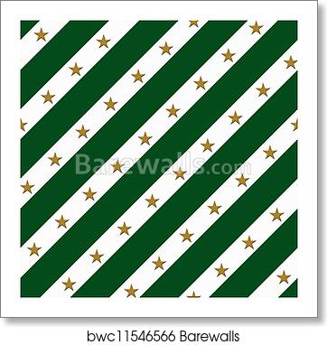Art Print Of Green And White Striped Fabric Background With Gold Stars