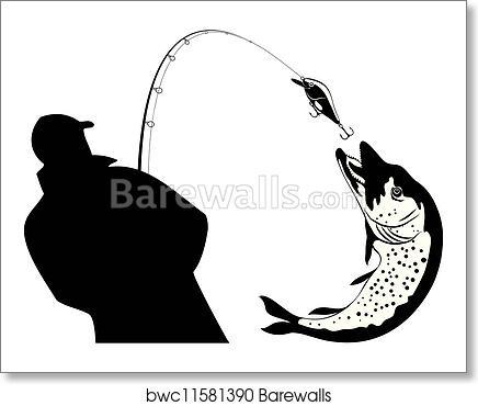 fishing fisherman and pike vector art print barewalls posters prints bwc11581390 fishing fisherman and pike vector art print poster