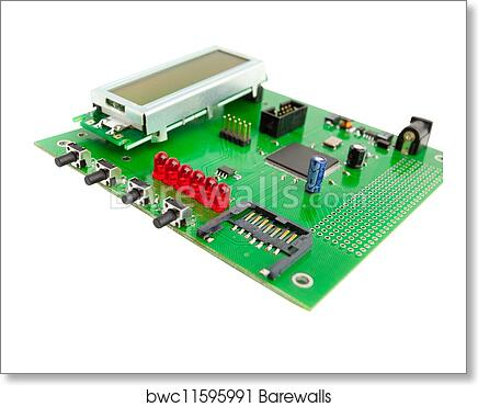 art print of electronic board with chip isolated on white