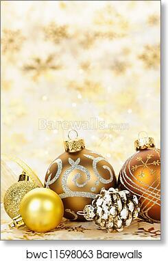 Golden Christmas Ornaments Background Art Print Poster