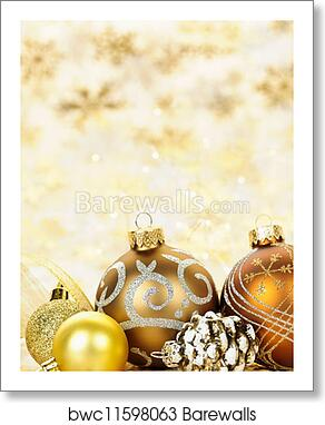 Christmas Ornaments Background.Golden Christmas Ornaments Background Art Print Poster