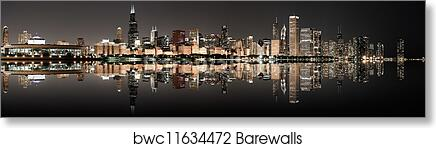Panoramic Wall Art chicago panoramic skyline at night art print/canvas print home