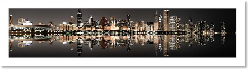 Chicago Panoramic Skyline At Art Print Canvas Home