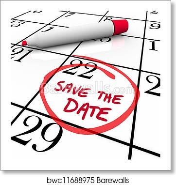art print of save the date words circled on calendar red marker