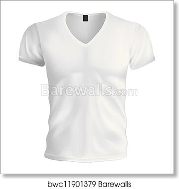 Art Print Of White Vneck Tshirt Template
