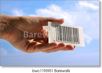 Art print of hand holding business card with fake bar code art print of hand holding business card with fake bar code colourmoves