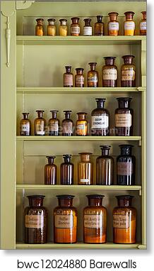 Art Print Of Old Apothecary Cabinet With Storage Jars
