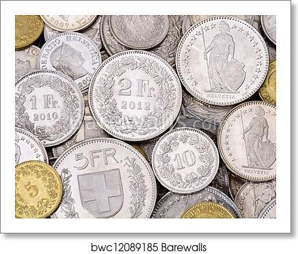 Pile Of Modern Swiss Franc Coins Art