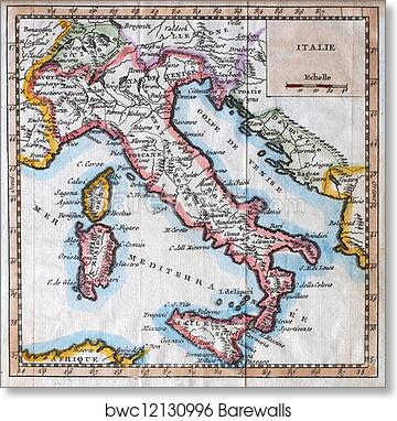 Italy Map Wall Art.Original Antique Italy Map Art Print Home Decor Wall Art Poster D