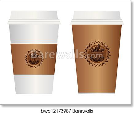 Coffee To Go Cups Illustration Art Print Poster