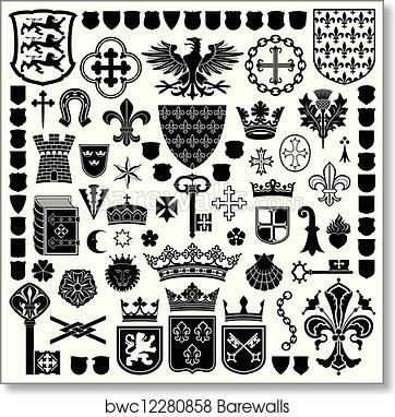 Heraldic Symbols And Decorations Art Print Poster