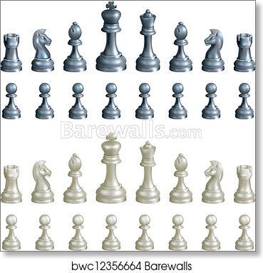 photograph regarding Printable Chess Pieces identify Chess areas mounted artwork print poster