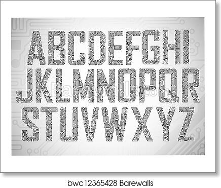 art print of circuit board letters