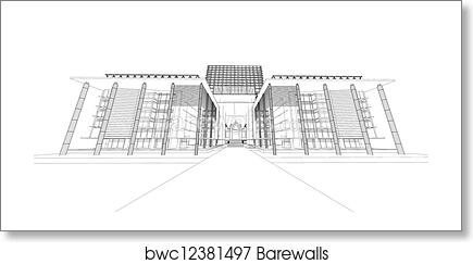 art print of wireframe of modern building barewalls posters