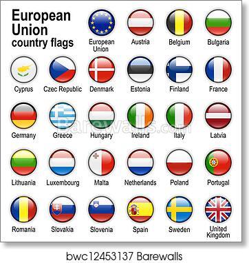 Flags Of Countries Members Of Eu Art Print Barewalls Posters