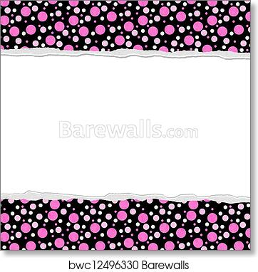 art print of pink polka dot background for your message or