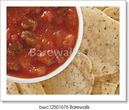 Art Print Of A Bowl Salsa And Chips