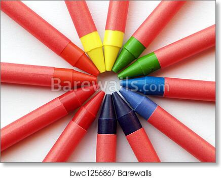 art print of color wheel from wax crayons barewalls posters