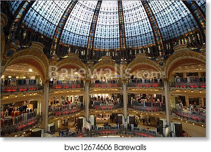 art print of ceiling of the lafayette luxury shopping mall in paris