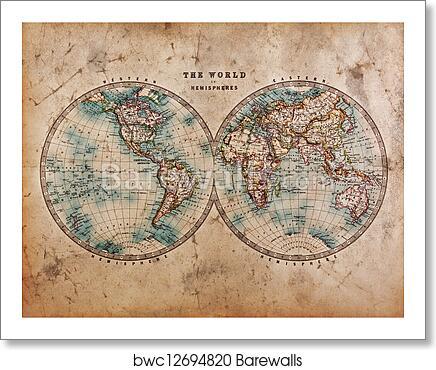 art print of old world map in hemispheres