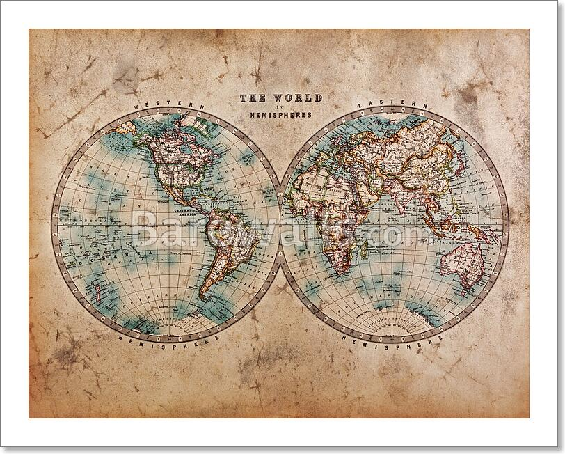 Mapa del viejo mundo en hemisferios art printlienzo impresin hogar a genuine old stained world map dated from the mid 1800s showing western and eastern hemispheres with hand colouring gumiabroncs Images