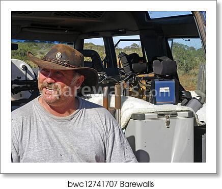 Departure at dawn for hunting for the gold nuggets in the Australian bush  art print poster