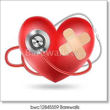 Stethoscope And A Heart Shape Art Print Barewalls Posters Prints Bwc12845559