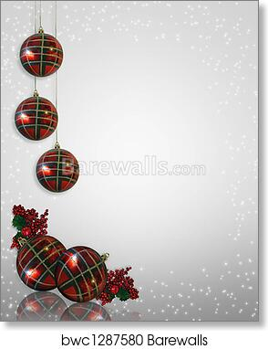Christmas Ornaments Border Art Print Poster