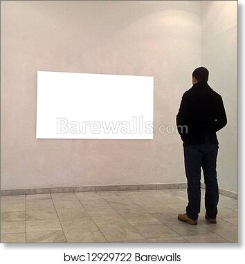 Art Print of Man in gallery room looking at empty frames | Barewalls ...
