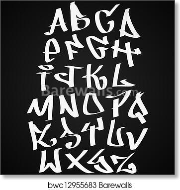 Graffiti font alphabet letters  Hip hop type grafitti design art print  poster