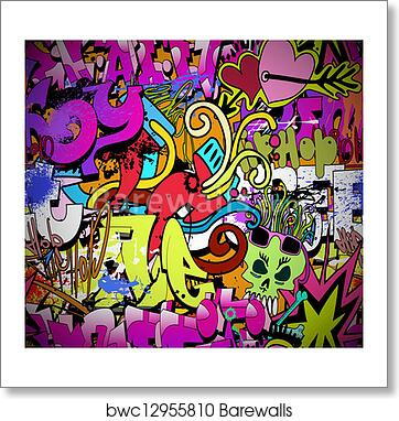 Graffiti Wall Art Background Hip Hop Style Seamless Texture Pattern Art Print Barewalls Posters Prints Bwc12955810