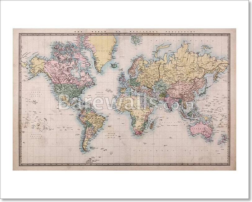 Old world map on mercators projection 2 ebay old world map on mercators projection 2 gumiabroncs Image collections