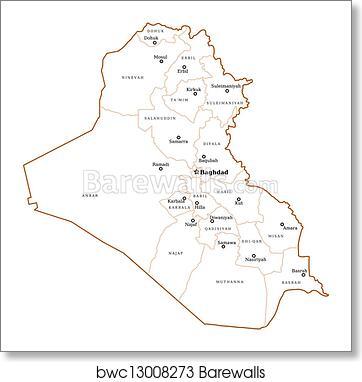 Iraq outline map art print poster