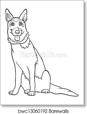 Art Print Of German Shepherd Dog Cartoon For Coloring