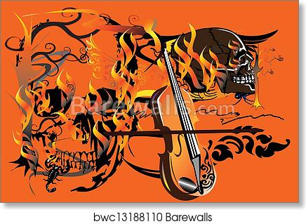 b73f2634e55d4 Skull-and-fire, Art Print | Barewalls Posters & Prints | bwc13188110