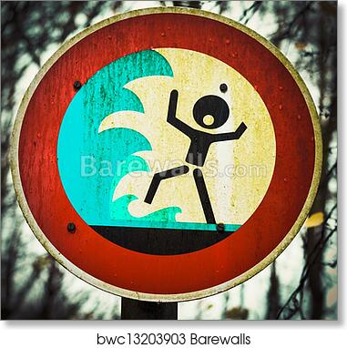 Screaming person flashflood tsunami warning sign art print poster
