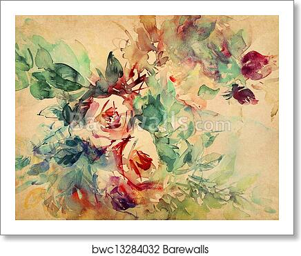 Watercolor Roses Painted On Art Print Canvas Home