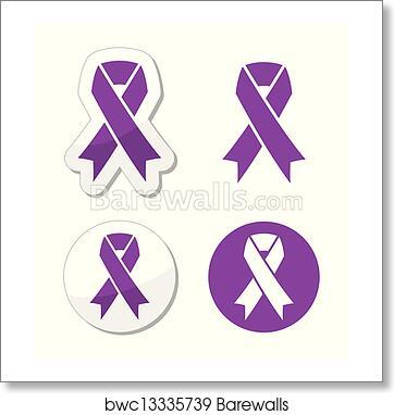 art print of purple ribbon pancreatic cancer barewalls posters