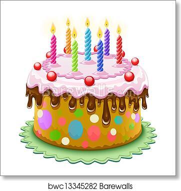 Birthday Cake With Burning Candles Art Print