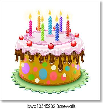 Art Print Of Birthday Cake With Burning Candles