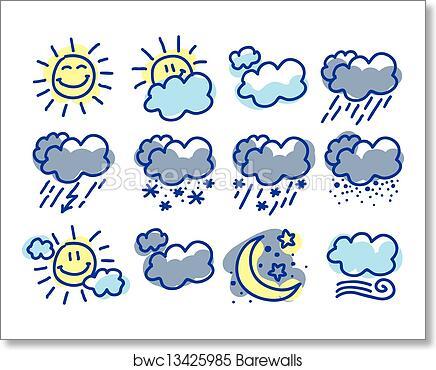 Art Print Of Weather Symbols Barewalls Posters Prints Bwc13425985