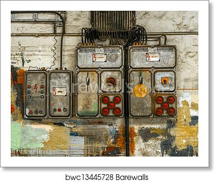 industrial fuse box on the wall, art print