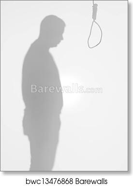 art print of male body silhouette standing in front of a hanging