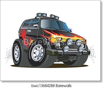 Art Print Of Cartoon Jeep Barewalls Posters Prints Bwc13684288