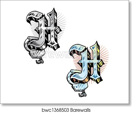 Art Print Of Tattoo Style Letter H Wit Barewalls Posters Prints