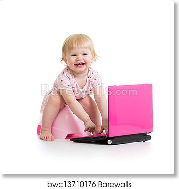 art print of baby girl sitting on chamberpot with notebook