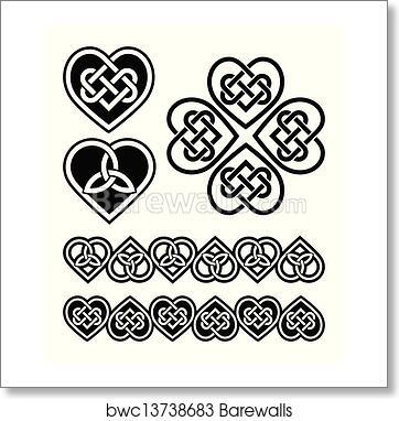 Art Print Of Celtic Heart Knot Vector Symbols Barewalls Posters
